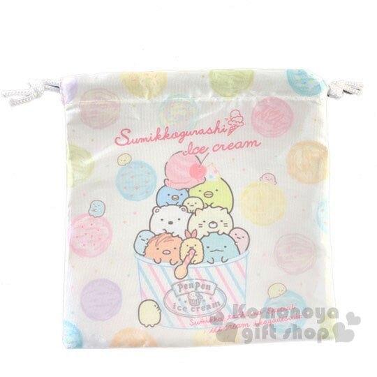 〔小禮堂〕角落生物 緞面束口袋《黃綠.冰淇淋》縮口袋.收納袋 4714551-87738
