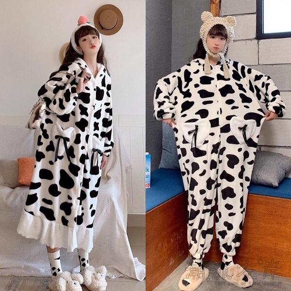 可愛奶牛甜美年新款學生睡裙女春秋長袖睡衣可外穿秋冬家居服