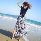 雪紡寬管褲女高腰垂感2021年新款夏九分沙灘褲長褲裙褲 黛尼時尚精品