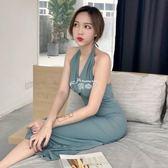 晚禮服 韓版藍灰色掛脖高腰綁帶復古簡約晚禮服洋裝女 俏腳丫