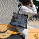 手提後背包女透明果凍包大容量時尚韓版包包【小獅子】