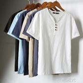 夏季亞麻風短袖t恤男休閒寬鬆男士中國風復古棉麻風v領體恤男裝潮 雙十一全館免運