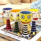 仟度彩繪高腳杯 時尚個性冰淇淋杯咖啡杯香檳紅酒杯 創意陶瓷杯子