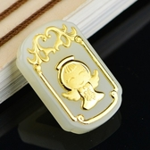 金鑲玉項鍊 和闐玉吊墜-福氣小天使生日母親節禮物男女飾品73gf98【時尚巴黎】