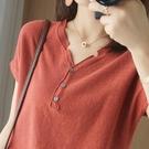 夏季棉麻短袖女V領寬鬆休閒針織T恤薄款雞心領打底背心上衣潮 蘇菲小店