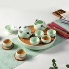 酒店家用套裝整套竹制陶瓷幹泡茶旅行茶壺  Dhh6835【男人與流行】