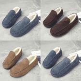 冬季雪地靴男靴子低筒馬丁短靴加絨保暖棉鞋男鞋一腳蹬情侶面包鞋