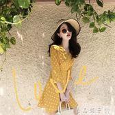 2019春裝新款港味chic寬鬆顯瘦雪紡裙子短裙韓版收腰短袖連身裙女      良品鋪子