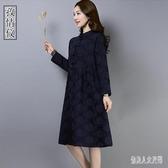 中國風旗袍棉麻洋裝女秋春裝 2020新款長袖洋氣復古紅色連身裙 yu10767『俏美人大尺碼』