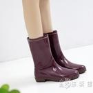 日式雨鞋女中筒雨靴時尚款水靴水晶防水工作膠鞋外穿防滑水鞋套鞋 小時光生活館