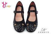 CONNIFE 女童娃娃鞋 中大童星空水鑽花童鞋 舞台表演鞋 C2438#黑色◆OSOME奧森童鞋