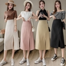 半身裙女2021春夏季新款高腰顯瘦中長款開叉a字一步裙職業西裝裙 快速出貨