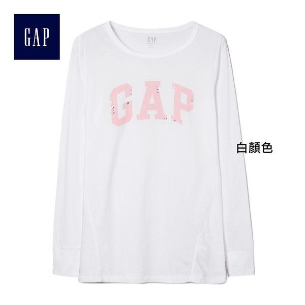 Gap女裝 Logo休閒套頭長袖T恤 400730-白顏色