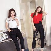 新款休閒套裝女夏裝兩件套OL職業修身顯瘦氣質連體褲  凯斯盾数位3C