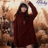 洋裝 反摺高領麻花挖肩針織長袖洋裝-Ruby s 露比午茶