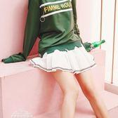 韓版白色百褶裙半身裙女學生防走光短裙a字網球裙「夢娜麗莎精品館」
