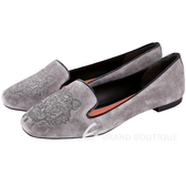 KENZO Tiger 老虎刺繡麂皮樂褔鞋(灰色) 1540411-06