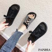 PAPORA格紋綁綁休閒涼拖鞋KQ0023黑/格紋(偏小)