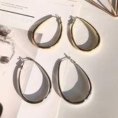 歐美冷淡風個性夸張橢圓形大耳環 S925銀針耳釘 耳圈吊墜耳飾品女