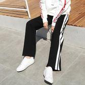 韓版運動褲女夏長褲寬鬆寬管褲女學生九分褲高腰休閒褲黑色褲子   莉卡嚴選