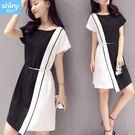 【V2829】shiny藍格子-經典時尚.黑白撞色拼接短袖連身裙