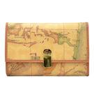 Alviero Martini 義大利地圖包-夾式10卡零錢中長夾-地圖黃