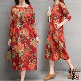 大尺碼洋裝實拍復古印花牡丹方領大尺碼寬鬆開叉袍子連身裙 超值價