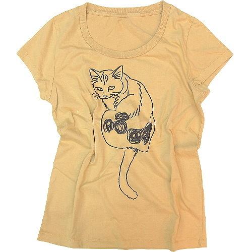 【波克貓哈日網】日系短袖T恤◇GAIN GROUND◇《貓咪圖案》芥黃色