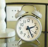 復古風格時尚敲鈴鬧鐘 金屬簡約打鈴創意座鐘 床頭夜燈學生鐘錶    初語生活