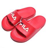 FILA (偏小建議大一號) 紅 白藍 英文LOGO 基本款 防水 拖鞋 男女 (布魯克林) 4S355Q221