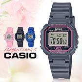 CASIO卡西歐 手錶專賣店   LA-20WH-8A 中性女錶 電子錶 橡膠錶帶 粉x黑 防水