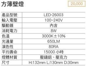 【燈王的店】LED 8W方薄壁燈附光源(LED26003)