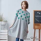 【Tiara Tiara】百貨同步 水玉點點環領寬版洋裝(藍底/灰底)