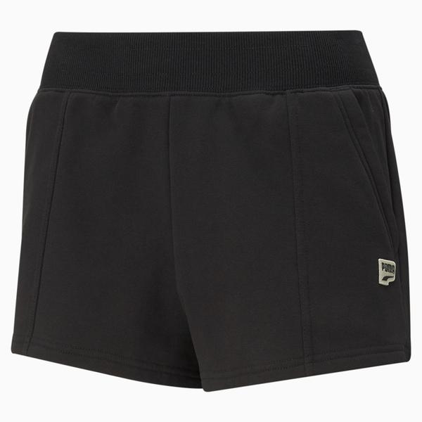 【現貨】PUMA Downtown 女裝 短褲 棉質 涼爽 休閒 徽章 口袋 黑 歐規【運動世界】59967201