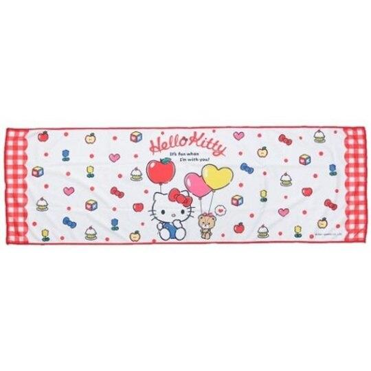 小禮堂 Hello Kitty 涼感長毛巾 附夾鏈袋 冰巾 運動毛巾 涼感巾 30x90cm (白 汽球) 4580433-09842