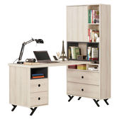 【森可家居】優娜5尺L型四抽書桌 8CM881-1 多功能 含書櫃 木紋質感 北歐風