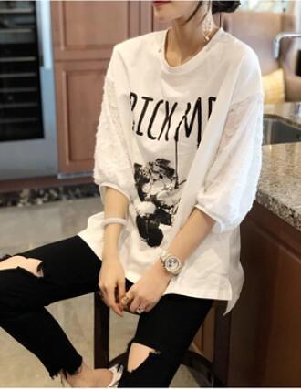 M-4XL胖妹妹大碼短T~ 白色t恤女短袖寬松大碼打底小衫上衣5820.MC019B衣時尚