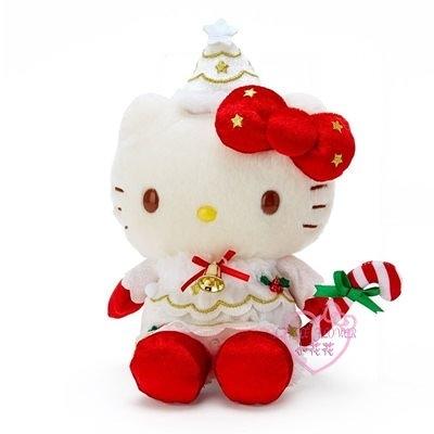 小花花日本精品HelloKitty美樂蒂酷洛米聖誕帽鈴鐺拐杖糖聖誕節變裝造型絨毛玩偶娃娃11421801