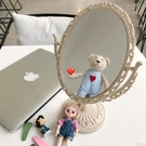 韓風chic簡約少女心歐式公主風浮雕宿舍寢室房間鏡子化妝鏡擺台鏡
