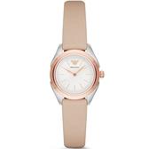 【台南 時代鐘錶 Emporio Armani】亞曼尼 AR11031 都會簡約 皮革錶帶女錶 白/玫瑰金 32mm