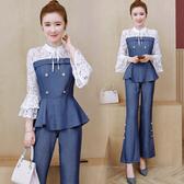 超殺29折 韓國風氣質顯瘦牛仔時尚套裝長袖褲裝