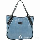 TOD'S NEW G-Bag 中款 漆亮帆布手提托特包(藍色) 1340711-23