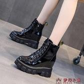 內增高女鞋2020新款秋冬靴子英倫風厚底百搭機車馬丁短靴瘦瘦單靴【快速出貨】