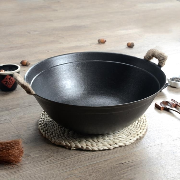 雙耳老式手工炒鍋生鐵無涂層炒菜鍋家用鑄鐵燃氣大鐵鍋圓底不粘鍋