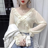 2020秋季新款洋氣設計感荷葉邊V領寬鬆襯衫女溫柔風超仙長袖上衣  【全館免運】