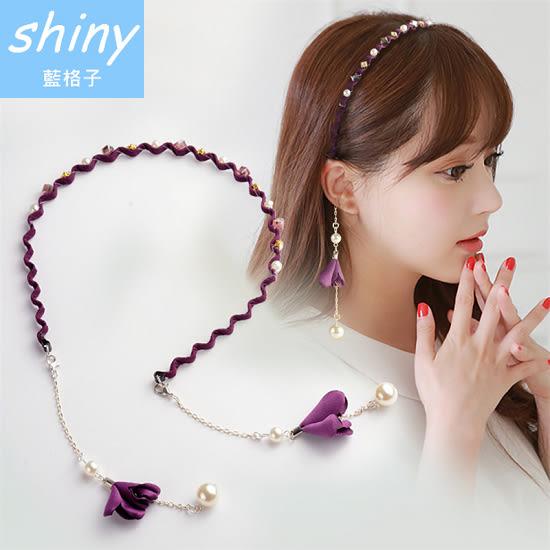 【DJB8410】shiny藍格子-簡約流蘇珍珠假耳環/髮箍