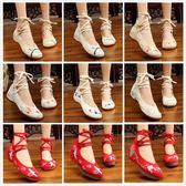 繡花鞋 漢服鞋子布鞋女內增高古風繡花鞋女坡跟古裝鞋子女民族風鞋 【唯伊時尚】