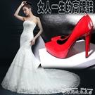 高跟鞋新品超高跟單鞋女漆皮性感尖頭高跟鞋細跟防水臺裸色12cm紅色婚鞋  迷你屋 618狂歡