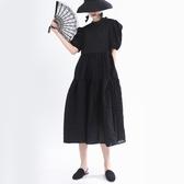 泡泡袖洋裝-黑色圓領長款大裙擺女連身裙73yh1【巴黎精品】