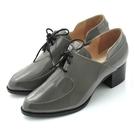 全真皮綁帶樂福粗跟踝靴-漆光灰‧karine(MIT台灣製)